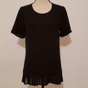 Nwot, Pleione black ruffled bottom blouse.
